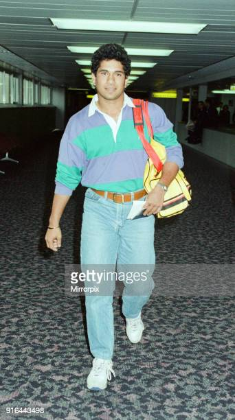 Sachin Tendulkar first overseas signing for Yorkshire County Cricket Club pictured arriving at London Heathrow Airport 28th April 1992