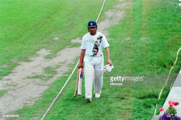 Sachin Tendulkar first overseas signing for Yorkshire County Cricket Club pictured after practising in the nets Sheffield 16th July 1992