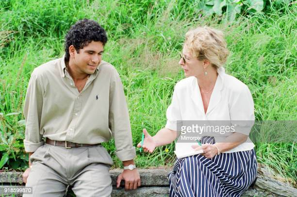 Sachin Tendulkar first overseas signing for Yorkshire County Cricket Club pictured being interviewed by a member of thje press Sheffield 16th July...