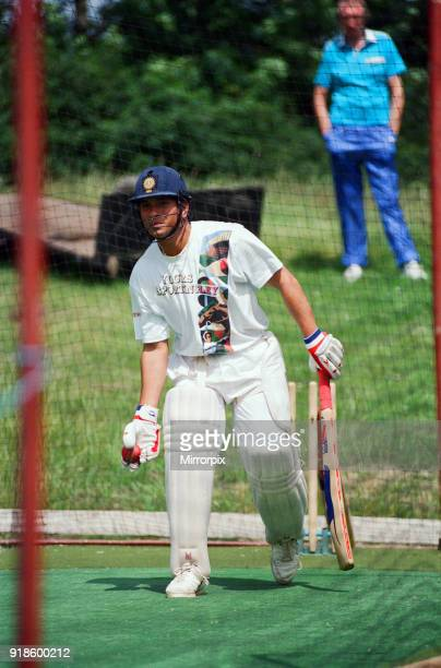 Sachin Tendulkar first overseas signing for Yorkshire County Cricket Club pictured practising in the nets Sheffield 16th July 1992