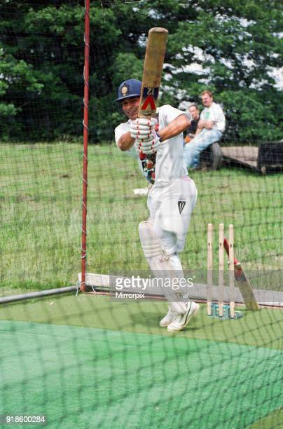 Sachin Tendulkar, first overseas signing for Yorkshire County Cricket Club, pictured practising in the nets, Sheffield, 16th July 1992.