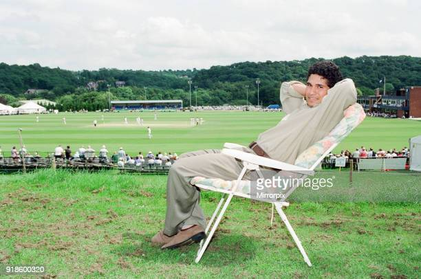 Sachin Tendulkar first overseas signing for Yorkshire County Cricket Club pictured relaxing Sheffield 16th July 1992