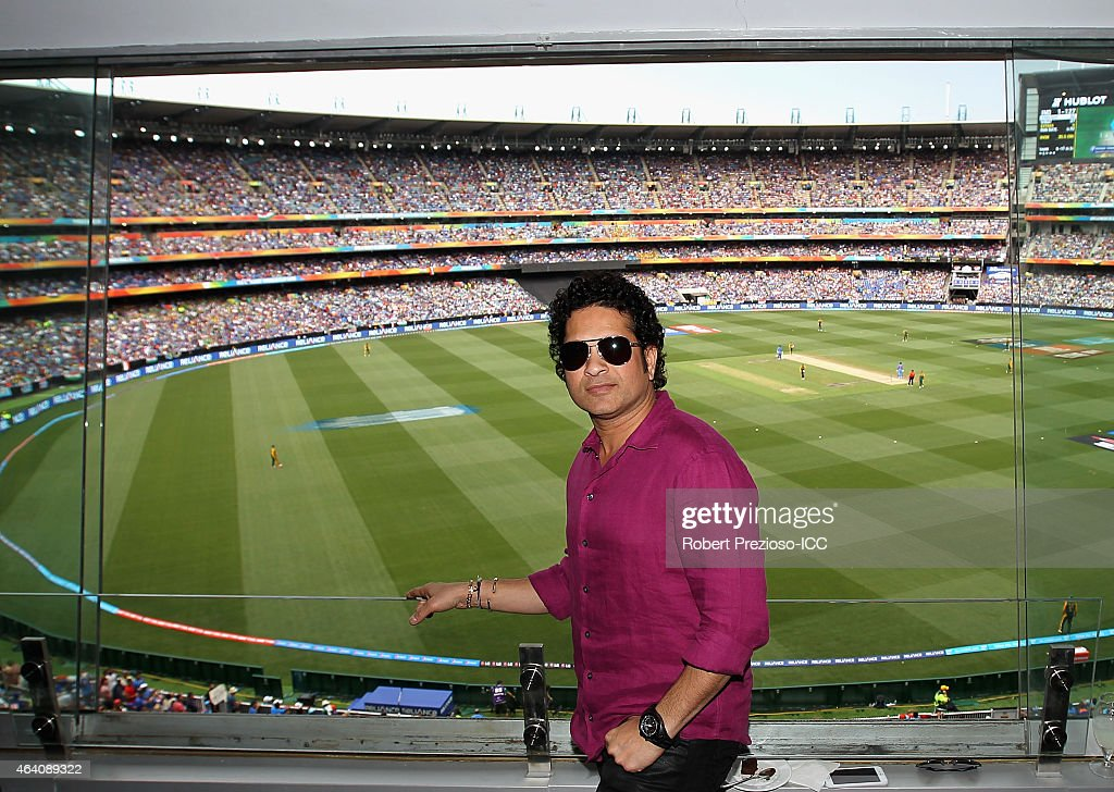 Sachin Tendulkar former Indian cricketer poses for photos during the 2015 ICC Cricket World Cup match between South Africa and India at Melbourne Cricket Ground on February 22, 2015 in Melbourne, Australia.