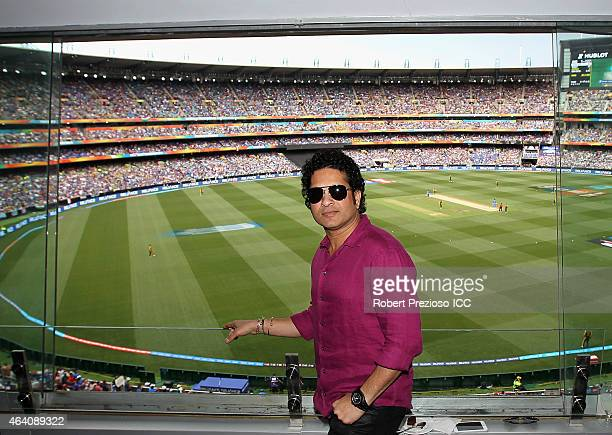 Sachin Tendulkar former Indian cricketer poses for photos during the 2015 ICC Cricket World Cup match between South Africa and India at Melbourne...
