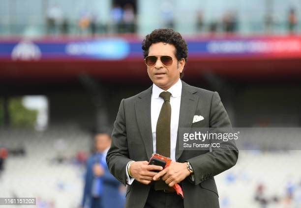 Sachin Tendulkar looks on during the Semi-Final match of the ICC Cricket World Cup 2019 between India and New Zealand at Old Trafford on July 10,...