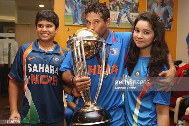 Sachin Tendulkar of India alongside his son Arjun and daughter Sara during the 2011 ICC World Cup Final between India and Sri Lanka at Wankhede...