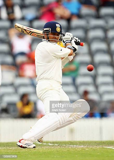 Sachin Tendulkar of India bats during day two of the International Tour match between India and the Cricket Australia Chairman's XI at Manuka Oval on...