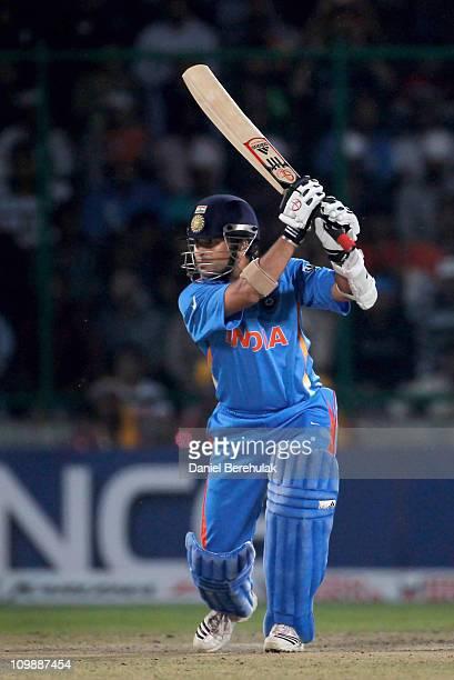 Sachin Tendulkar of India bats during the 2011 ICC Cricket World Cup Group B match between India and the Netherlands at Feroz Shah Kotla stadium on...