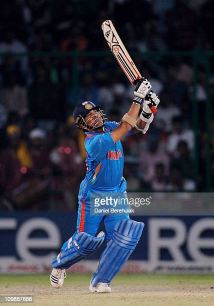 Sachin Tendulkar of India bats during the 2011 ICC Cricket World Cup Group B match between India and the Netherlands at Feroz Shah Kotla stadium on...