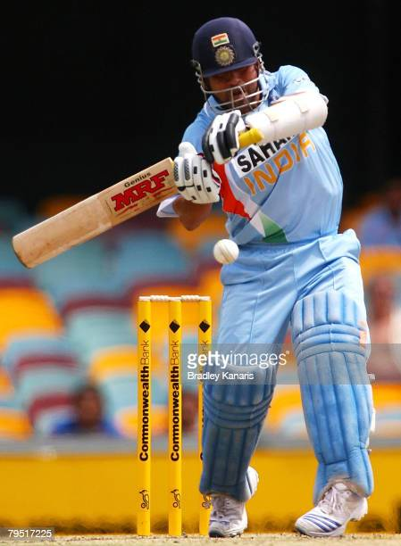 Sachin Tendulkar of India bats during the Commonwealth Bank Series match between Sri Lanka and India held at the Gabba on February 5, 2008 in...