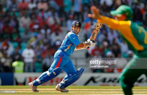 Sachin Tendulkar of India bats during the Group B ICC World Cup Cricket match between India and South Africa at Vidarbha Cricket Association Ground...