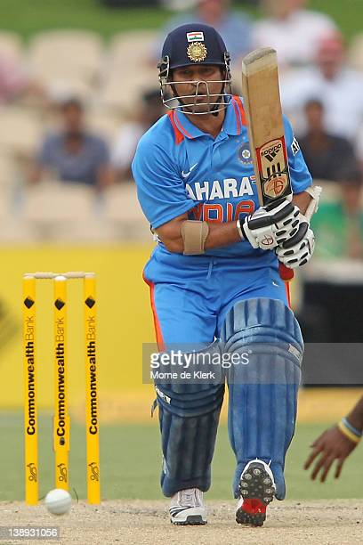 Sachin Tendulkar of India bats during the One Day International match between India and Sri Lanka at Adelaide Oval on February 14, 2012 in Adelaide,...