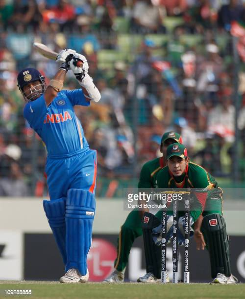 Sachin Tendulkar of India bats during the opening game of the ICC Cricket World Cup between Bangladesh and India at the Shere-e-Bangla National...