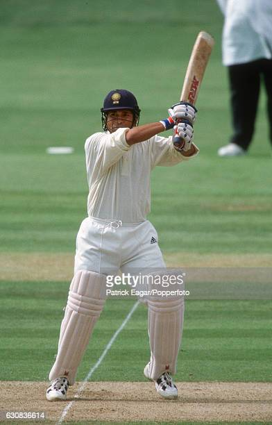 Sachin Tendulkar of India batting during his innings of 125 for Rest of the World XI in the Princess of Wales Memorial match between MCC and Rest of...