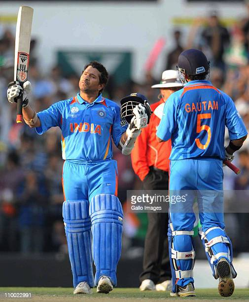 Sachin Tendulkar of India celebrates his 100 during the Group B ICC World Cup Cricket match between India and South Africa at Vidarbha Cricket...
