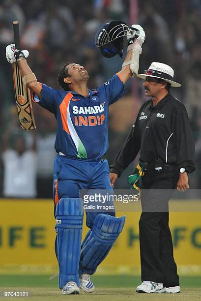 Sachin Tendulkar of India celebrates his 200 the first ever double hundred in a one day international during the 2nd ODI between India and South...