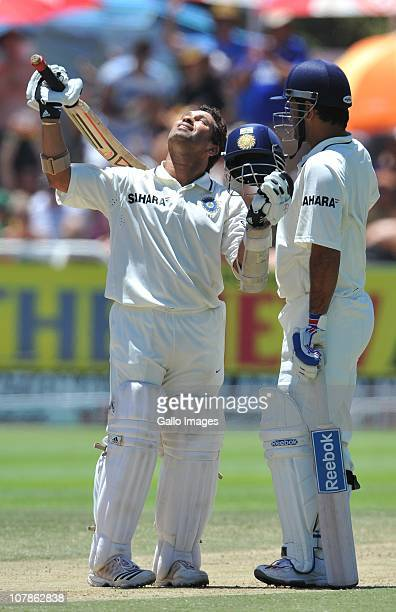 Sachin Tendulkar of India celebrates his 51st Test century during day 3 of the 3rd Test match between South Africa and India at Newlands Stadium on...