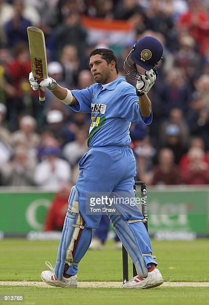 July 4 : Sachin Tendulkar of India celebrates his century during the match between England and India in the NatWest One Day Series at Chester Le...