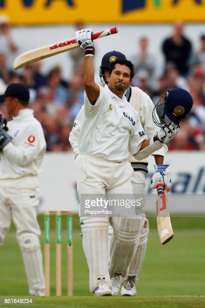 Sachin Tendulkar of India celebrates his century during the Third npower Test match between England and India on August 23, 2002 at Headingley in...