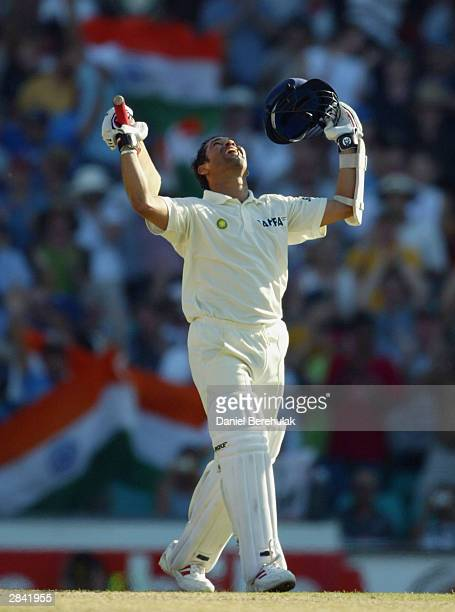 Sachin Tendulkar of India celebrates his double century during day two of the 4th Test between Australia and India at the SCG on January 3 2004 in...