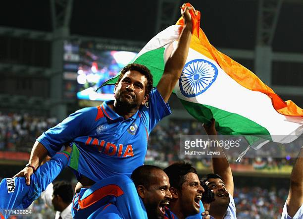Sachin Tendulkar of India celebrates his teams win during the 2011 ICC World Cup Final between India and Sri Lanka at the Wankhede Stadium on April 2...