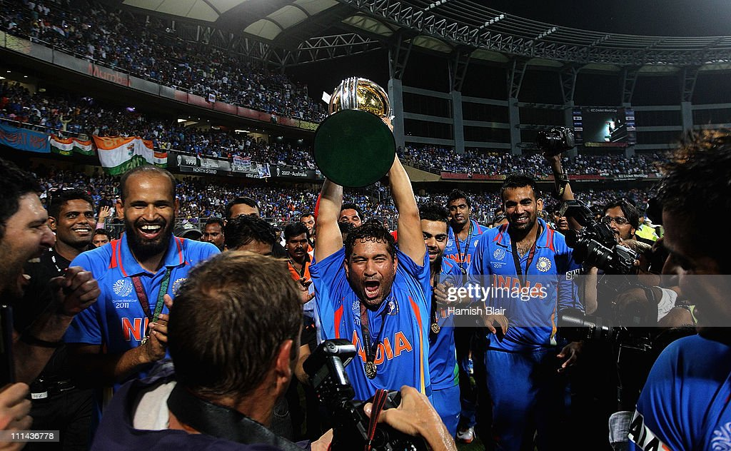 Sachin Tendulkar of India celebrates with the trophy after the 2011 ICC World Cup Final between India and Sri Lanka at Wankhede Stadium on April 2, 2011 in Mumbai, India.