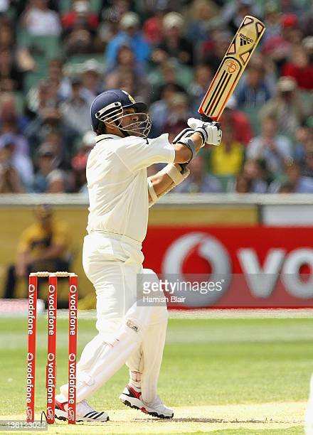 Sachin Tendulkar of India cuts for six during day two of the First Test match between Australia and India at Melbourne Cricket Ground on December 27,...