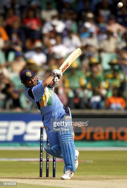 Sachin Tendulkar of India hits a boundry during the ICC Cricket World Cup 2003 Pool A match between England and India at Kingsmead Durban South...