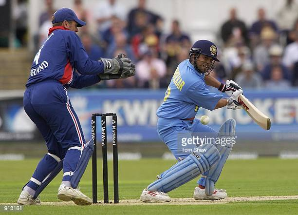 Sachin Tendulkar of India hits a four during the match between England and India in the NatWest One Day Series at Chester Le Street Durham England on...
