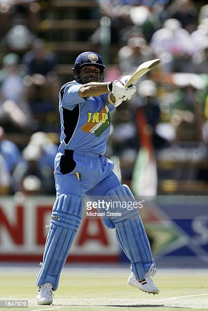 Sachin Tendulkar of India hits out during the ICC Cricket World Cup 2003 Super Sixes match between Sri Lanka and India held on March 10 2003 at The...