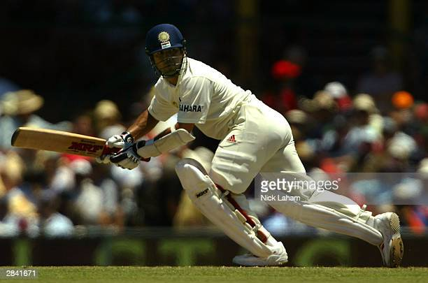 Sachin Tendulkar of India in action during day two of the 4th Test between Australia and India at the SCG on January 3 2004 in Sydney Australia