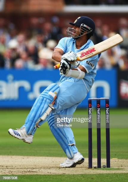 Sachin Tendulkar of India in action during the 7th NatWest ODI between England and India at Lords on September 8, 2007 in London, England.