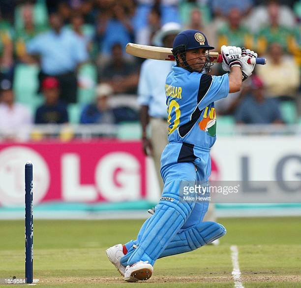 Sachin Tendulkar of India in action during the ICC Cricket World Cup SemiFinal between India and Kenya at the Kingsmead cricket ground in Durban...