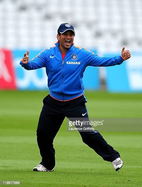 Sachin Tendulkar of India is all smiles during Net Practice ahead of the second Test match at Trent Bridge on July 27 2011 in Nottingham England