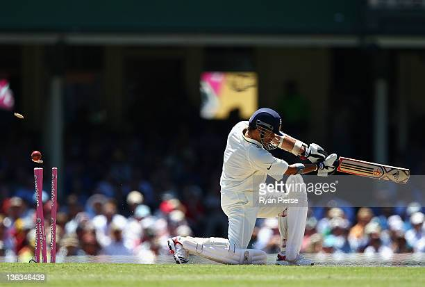 Sachin Tendulkar of India is bowled by James Pattinson of Australia during day one of the Second Test Match between Australia and India at the Sydney...
