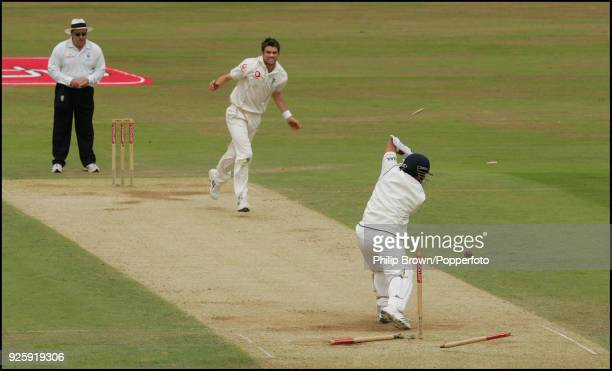 Sachin Tendulkar of India is bowled for 1 run by England bowler James Anderson during the 3rd Test match between England and India at The Oval London...