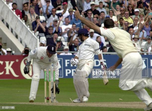 Sachin Tendulkar of India is bowled out by Michael Vaughan whilst he was on 92 runs 12 August on the final day of the second Test against England at...