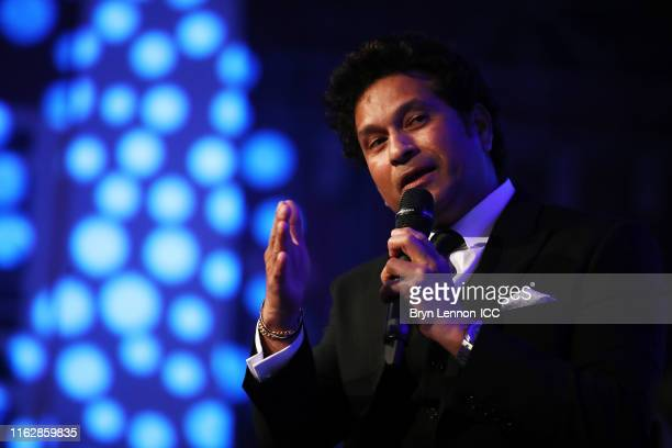Sachin Tendulkar of India is inducted into the ICC hall of Fame during the ICC Annual Conference dinner at Madame Tussauds London on July 18, 2019 in...