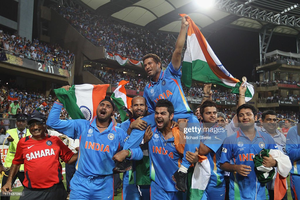 Sachin Tendulkar of India is lifted by his team mates on a lap of honour after their six wicket victory during the 2011 ICC World Cup Final between India and Sri Lanka at Wankhede Stadium on April 2, 2011 in Mumbai, India.