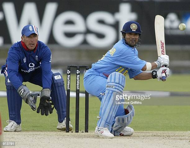 Sachin Tendulkar of India on his way to his century during the match between England and India in the NatWest One Day Series at Chester Le Street...