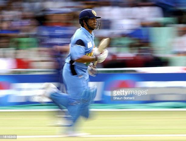 Sachin Tendulkar of India runs between the wickets during the ICC Cricket World Cup match between England and India at Kingsmead Cricket Ground in...