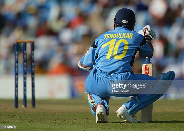 Sachin Tendulkar of India takes a breather during the ICC Cricket World Cup 2003 Pool A match between India and Pakistan held on March 1 2003 at the...