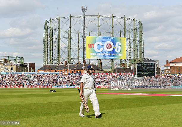 Sachin Tendulkar of India walks back after being dismissed by Tim Bresnan of England during day five of the 4th npower Test Match between England and...
