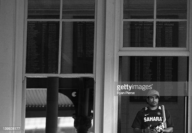 Sachin Tendulkar of India walks out to warm up before his last match at the SCG the One Day International match between Australia and India at Sydney...