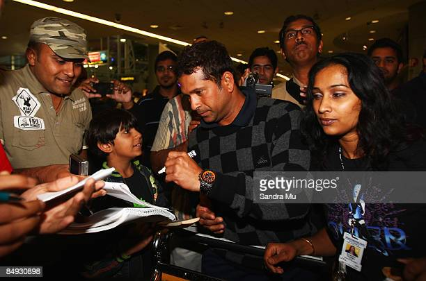 Sachin Tendulkar of India walks through the arrivals hall as the Indian cricket team arrive at Auckland International Airport on February 20 2009 in...