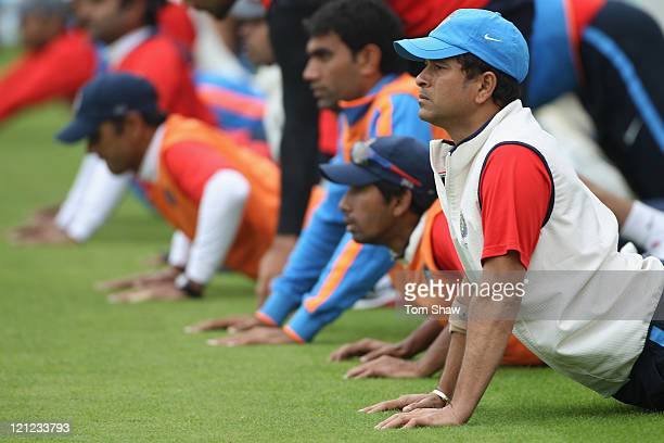 Sachin Tendulkar of India warms up during the India nets session at The Kia Oval on August 16, 2011 in London, England.