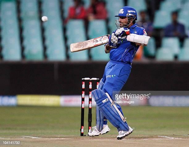 Sachin Tendulkar of Mumbai Indians in action during the Airtel Champions League Twenty20 match between Mumbai Indians and Guyana at Sahara Kingsmead...