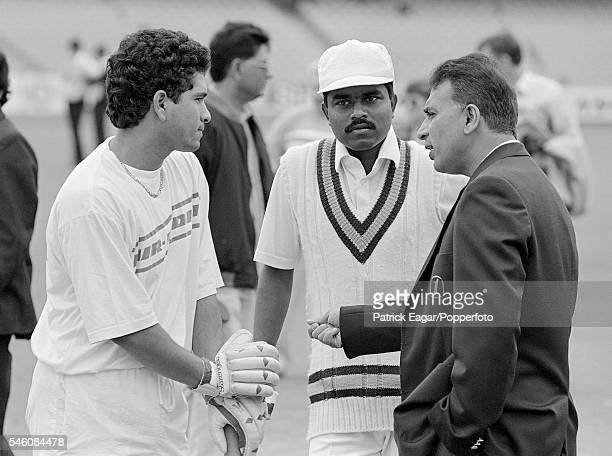Sachin Tendulkar Pravin Amre and Sunil Gavaskar before the 1st Test match between South Africa and India at Durban South Africa 13th November 1992
