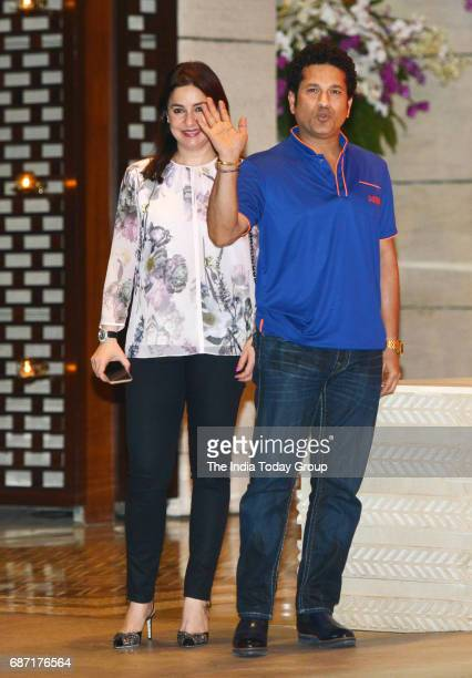 Sachin Tendulkar with his wife Anjali Tendulkar during the party organised to celebrate Mumbai Indians victory in the Indian Premier League 2017 in...