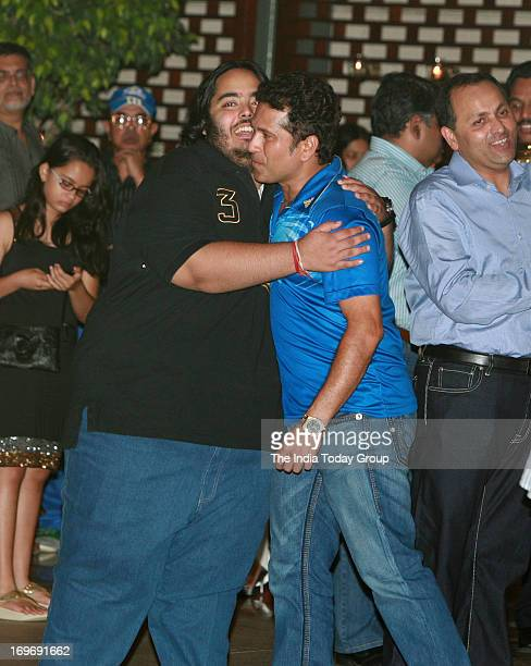 Sachin Tendulkar with Mukesh Ambani's son Hari Anant at the party hosted by Nita Ambani to celebrate her team's victory in IPL finals
